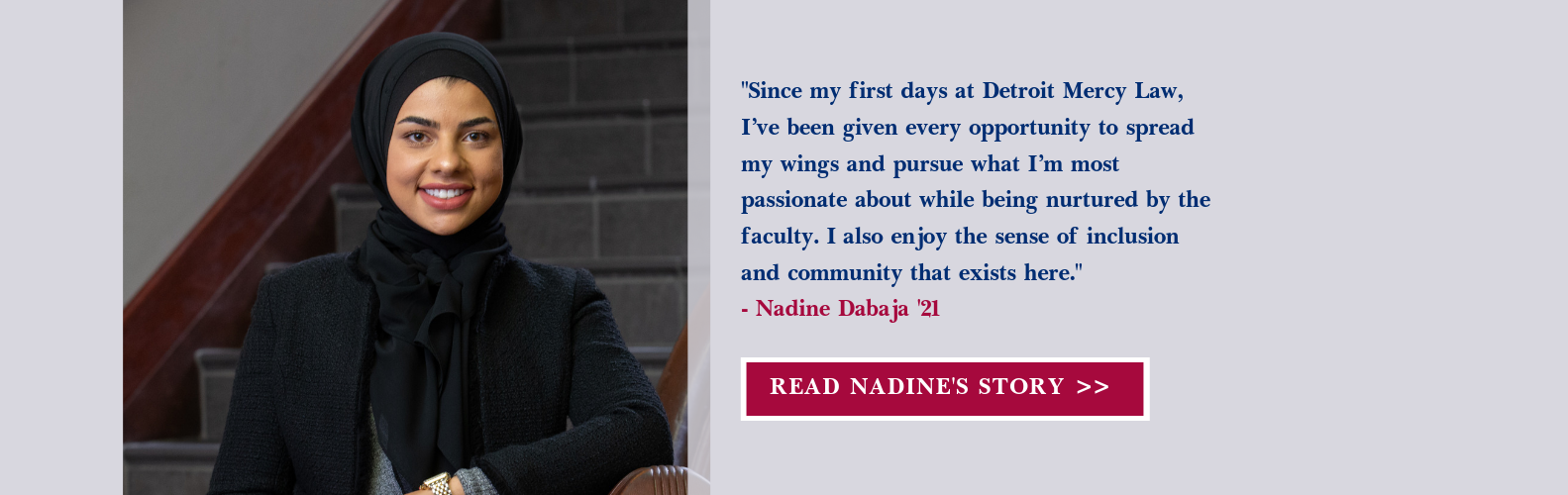 Nadine Dabaja on Detroit Mercy Law staircase